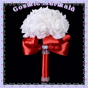 Red🆕⭐️Crystal Accent Floral Bow Bridal Bouquet⭐️